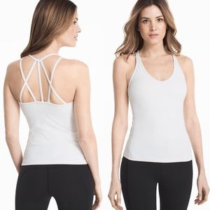 WHBM White Built-in Strappy Athletic Racerback Top